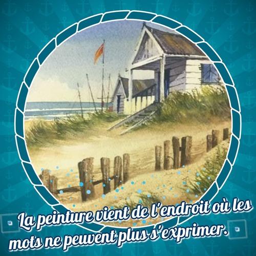 Dessin et peinture - vidéo 3338 : Comment peindre un cabanon au bord de la mer ? - aquarelle (humide sur humide).