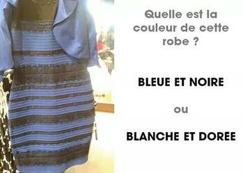 Quelle est la couleur de la robe blanche et or