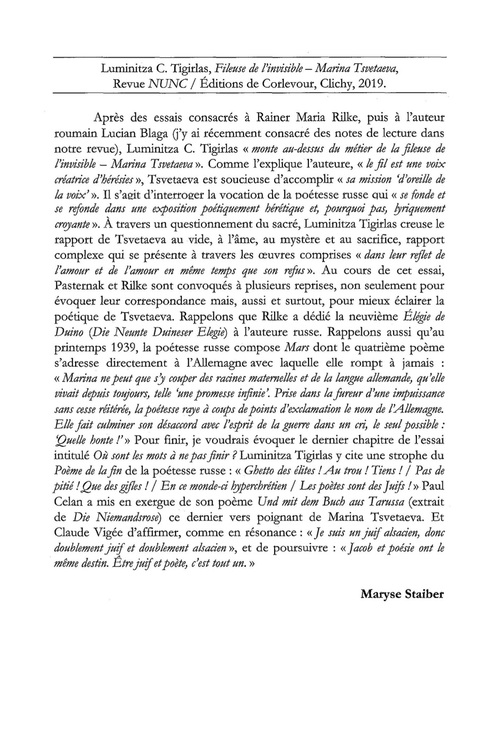 """Fileuse de l'invisible - Marina Tsvetaeva"" lu par Maryse Staiber"