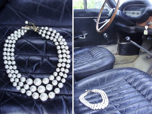 Collier sixties créé par Sylvie Le Brigant dans un coupé Lancia Flavia Pininfarina de 1965