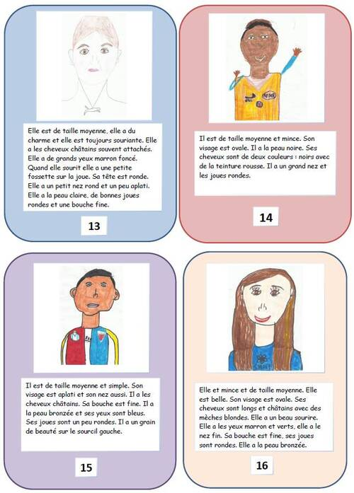 EMC et arts visuels : cartes présentation des élèves pour les correspondants
