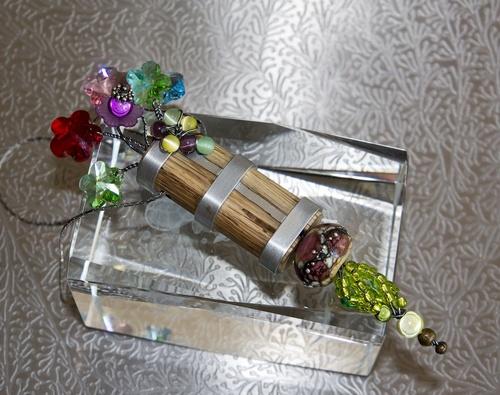 pendentif bois et cristal swarowski