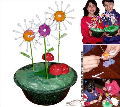 Des fleurs pâte à modeler et coton-tiges