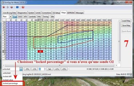 Mise au point de la cartographie avec les sondes O2 d'origine