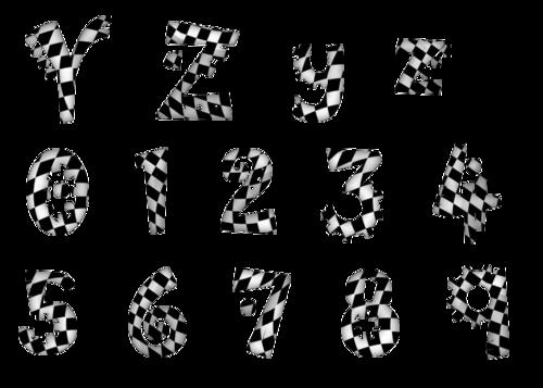 alphabet damier noir et blanc