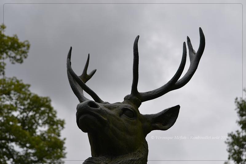 Parc du château de Rambouillet : Sculptures en bronze - Cerfs