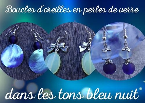 Boucles d'oreilles fantaisie dans les tons bleu nuit