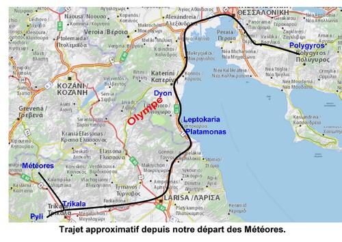 trajet des Météores à Polygyros