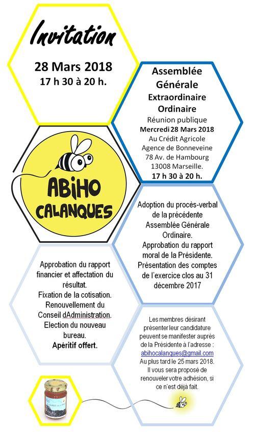 Invitation à l'Assemblée Générale de l'association Abiho Calanques 28-03-2018