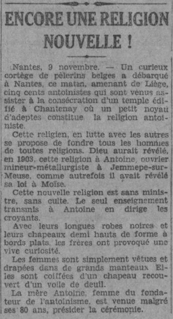 Nantes - Encore une religion nouvelle (L'Echo d'Alger 10-11-1929)