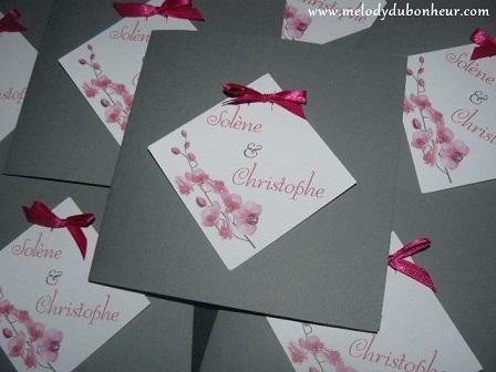 Faire part carré thème orchidée