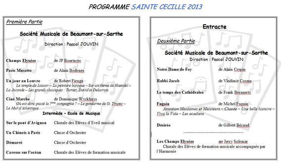 Programme Concert Sainte Cécile 2013