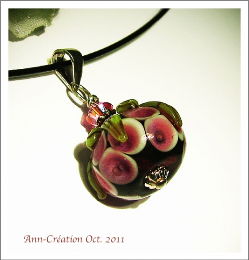 Pendentif Perle de Verre Florale Lampwork / Cristal de Swarovski / Argent 925