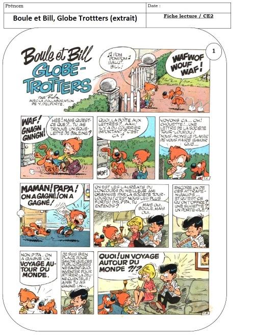 BD CE1 / CE2 : Boule et Bill globe trotters, extrait
