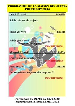 Programme d'activité Avril 2015