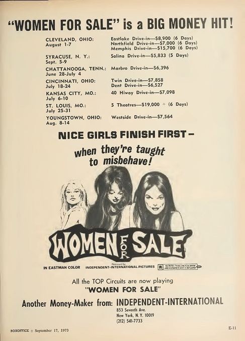 WOMEN FOR SALE BOX OFFICE 1973