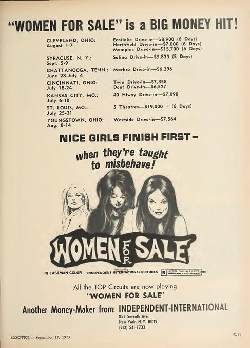 WOMEN FOR SALE BOX OFFICE 1973