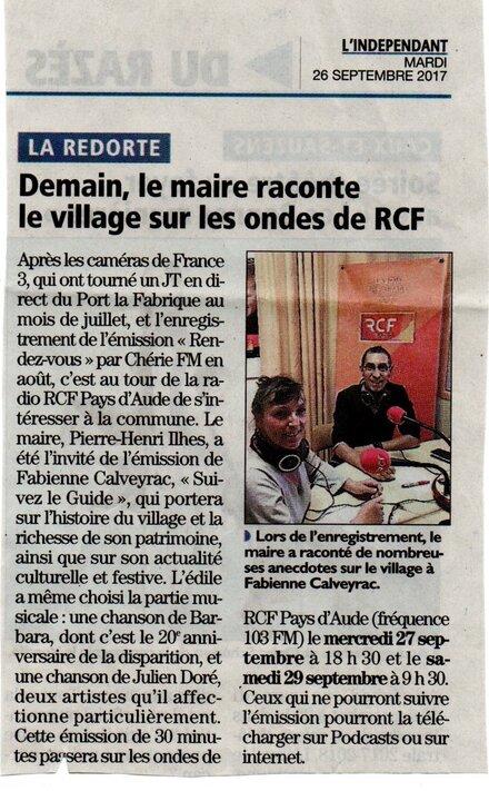 Retrouvez moi sur RCF Pays d'Aude !
