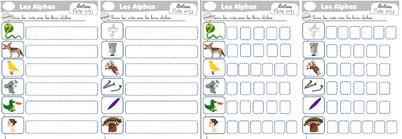 Fiche exercice encoder sons simples avec les alphas