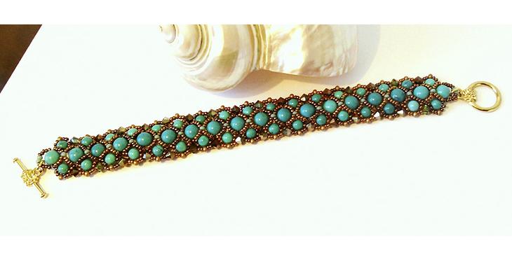 Bracelet tissé Pierre de Turquoise naturelle et Cristal de Swarovski, Fermoir Toggle en T métal doré