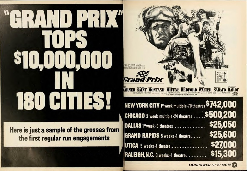 GRAND PRIX BOX OFFICE USA 1966