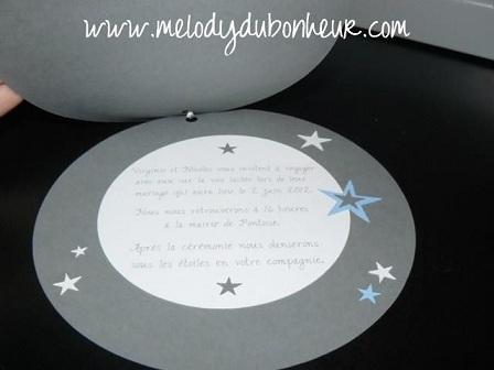Faire part de mariage sur le thème des étoiles
