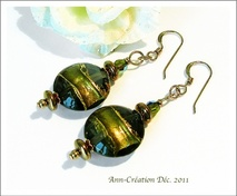 Collection Murano Feuille d'Or - Marron - Vert Olive - Or