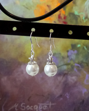 Boucles hameçons boules blanches verre nacré 08mm / Argent 925 - White faux pearl ball 08mm french hook earrings