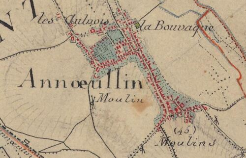 Annoeullin - Carte de l'état-major 1820-1866 (geoportail.gouv.fr)