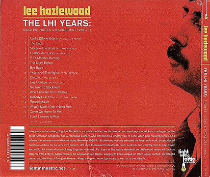 Chefs d'Oeuvre oubliés # 11: Lee Hazlewood - The LHI Years Singles, Nudes and Backsides [1966-71] (2012)
