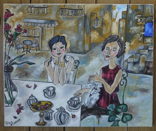 Mère et Fille en terrasse.
