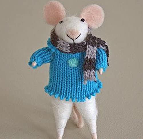 Pin Felt Needle Felted Collectible White Mouse with Jumper & Scarf:  Amazon.co.uk: Kitchen & Home