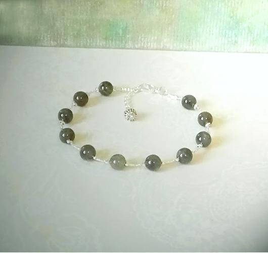Bracelet pierre grise de labradorite 6mm sur chaine fil / Plaqué argent