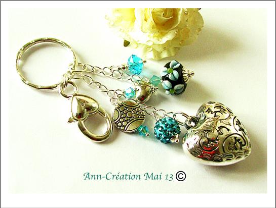 Bijou de Sac Coeur, Verre Lampwork Turquoise Vert d'Eau & Cristal Argent / Silver Heart Bag jewel