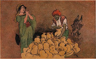 Ali-Baba, devant sa femme, vida le contenu des sacs.