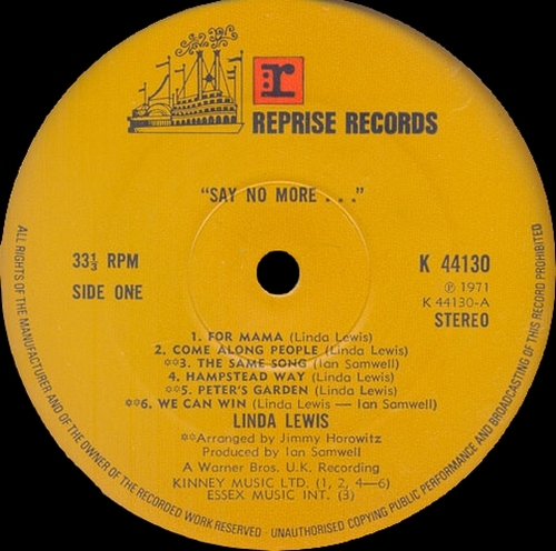 "Linda Lewis : Album "" 'Say No More...' "" Reprise Records K 44130 [ UK ] en 1971"