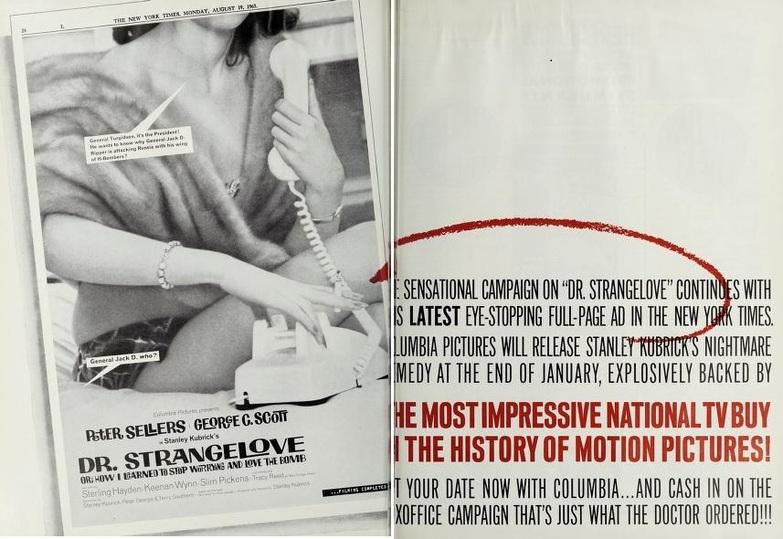 DR.STRANGELOVE BOX OFFICE USA 1964