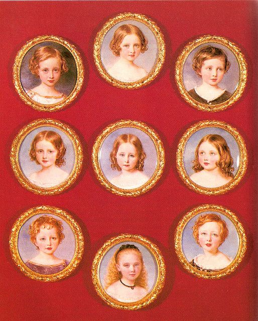 Queen Victoria's children, Victoria,  Albert, Alice, Alfred, Helena, Louise,  Arthur, Leopold, and Beatrice.: