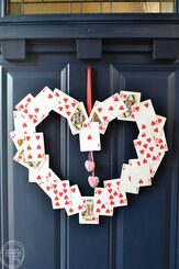 I don't usually decorate for Valentine's Day, but this wreath looks so easy! Time to save those decks of cards that are missing cards to use for this.
