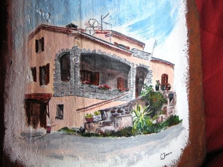 Tuile réalisé d'apres la photo d'une maison de villevocance(07)