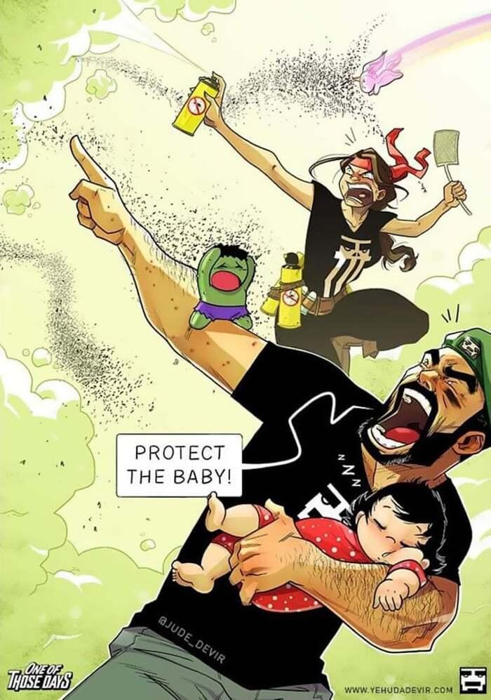 Un artiste illustre la vie de tous les jours avec sa femme et sa fille d'un an dans des bandes dessinées relatables