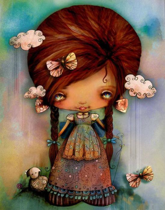 Papillon dans les cheveux.  Auteur: Karin Taylor.
