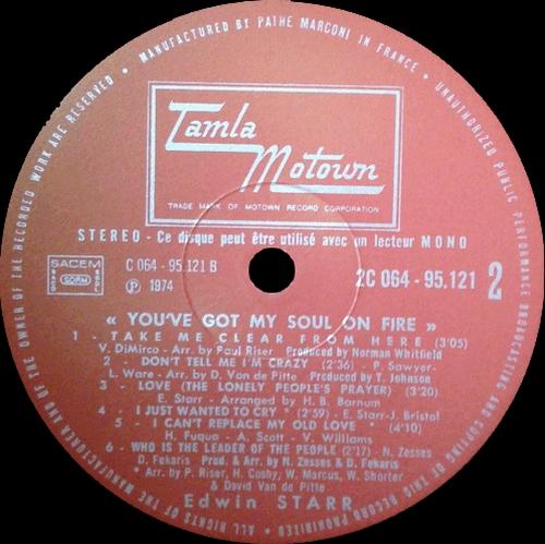 "Edwin Starr : Album "" You've Got My Soul On Fire "" Tamla Motown Records 2C -064-95.121 [ FR ]"