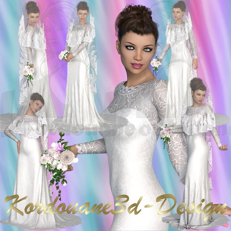 Leana : La Mariée au voile de tulle (render)