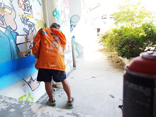 Atelier decouverte avec Gésu, à Le Grau du Roi (30) 08/2016. La rencontre avec un artiste et une personne. Bonne journnee de création  !!!. Les photos http://atelier-graff.blogg.org