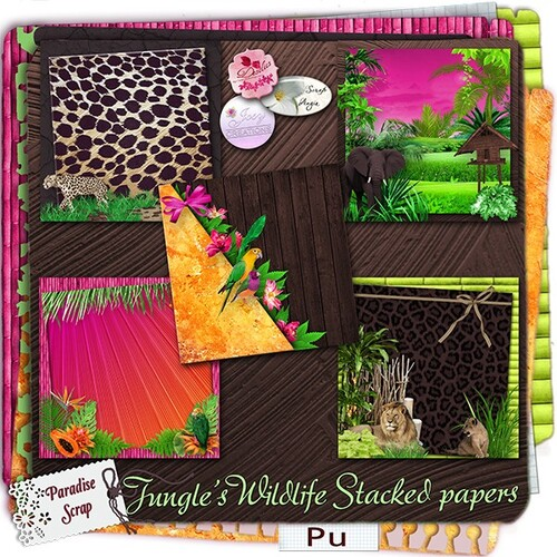 Kit Jungle's Wildlife une collab de josycréations,Desclics et Angie