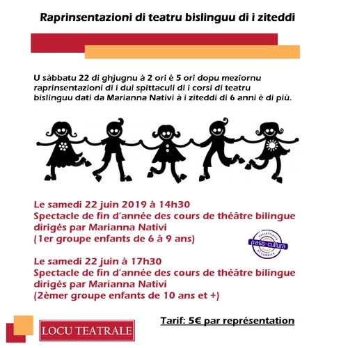 22 Juin 2019 à 14h - Représentations des spectacles de théâtre enfants