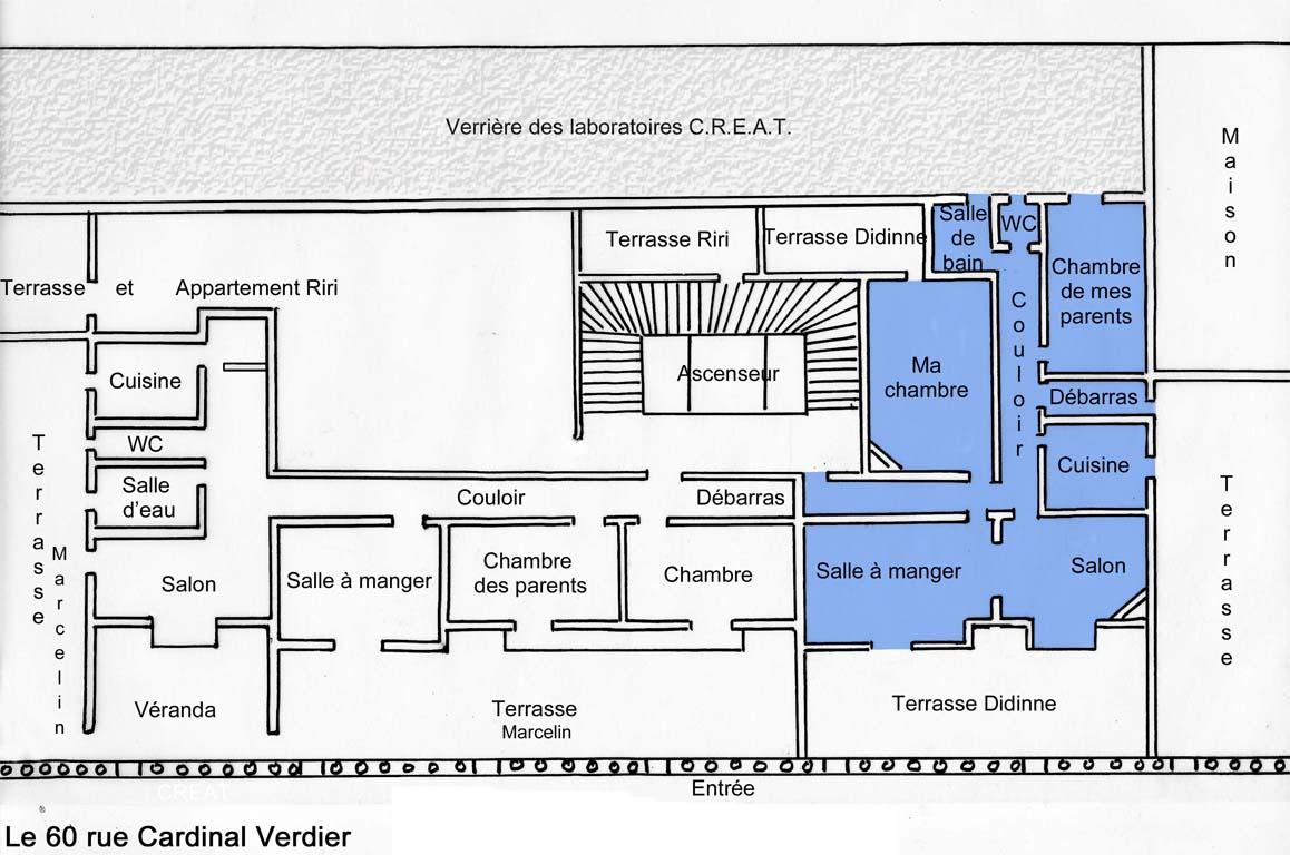 Plan de mon appartement au 60 rue Cardinal Verdier
