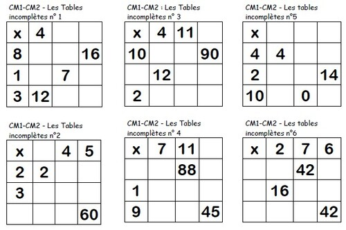 Les tables multiplicatives incompl tes cm locazil - Exercice table de multiplication cm1 ...