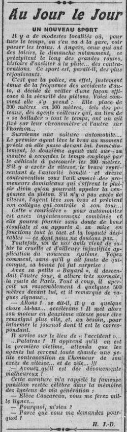 Angers, avril 1913, 1er contrôle routier